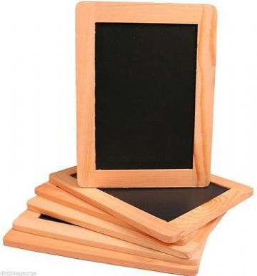 6 x MINI CHALKBOARD NATURAL ROCK SLATE BLACKBOARD 26cm x 18cm Double Sided
